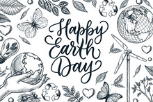 Happy Earth Day Banner Poster With Calligraphy Lettering. Vector Sketch Illustration Of Nature And Ecology Symbols
