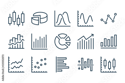 Papel de parede Graph and Chart related line icons