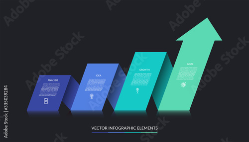 Vector infographic growth concept with 4 steps Fototapet