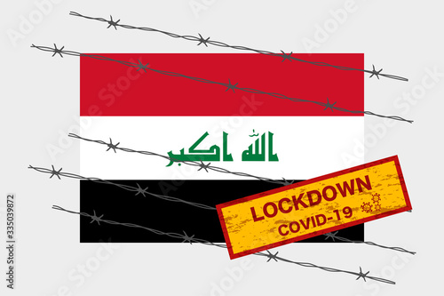 Iraq flag with signboard lockdown warning security due to coronavirus crisis cov Fototapet