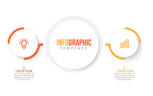 Minimal Business Infographics Template. Timeline With 2 Steps, Options And Marketing Icons .Vector Linear Infographic With Two Conected Elements. Can Be Use For Presentation.