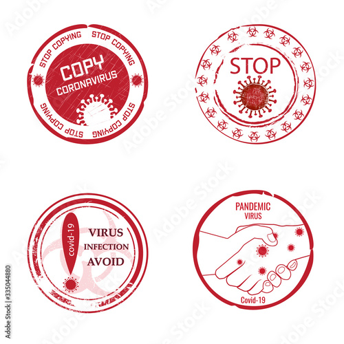 Round stamps with text, the danger of coronavirus and the spread of pandemics among people Wallpaper Mural