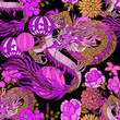 Leinwanddruck Bild - Creative seamless pattern with hand drawn chinese art elements: dragon, lantern, fan and flowers. Trendy print. Fantasy chinese dragon, great design for any purposes. Asian culture. Abstract art.