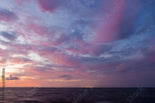 Long exposure sea and rocks at twilight