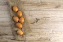 Eggs Stand On A Burlap That St...
