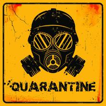 Gas Mask Icon On Yellow Grunge...