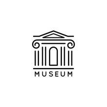 Museum Logo Is In A Trendy Minimal Linear Style. Vector Icon Of A Bank Building With Columns. Simple Emblem