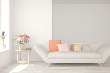 White Living Room With Sofa. S...