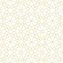 Golden Seamless Pattern, Design Element In Eastern Style. Geometric Ornament.