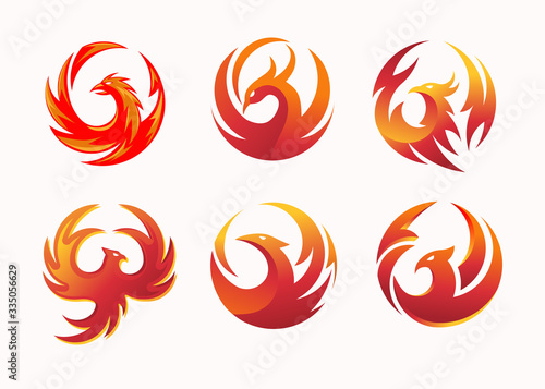 simple and elegant phoenix circle vector illustration concept suitable for all kind business, accounting, legal, management, sport, security etc Wallpaper Mural