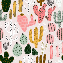 Seamless Pattern With Colorful Cactuses And Hand Drawn Textures. Perfect For Fabric,textile. Creative Vector Background