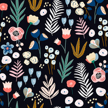 Seamless Floral Pattern. Blooming Flower Texture. Great For Fabric, Textile Vector Illustration.