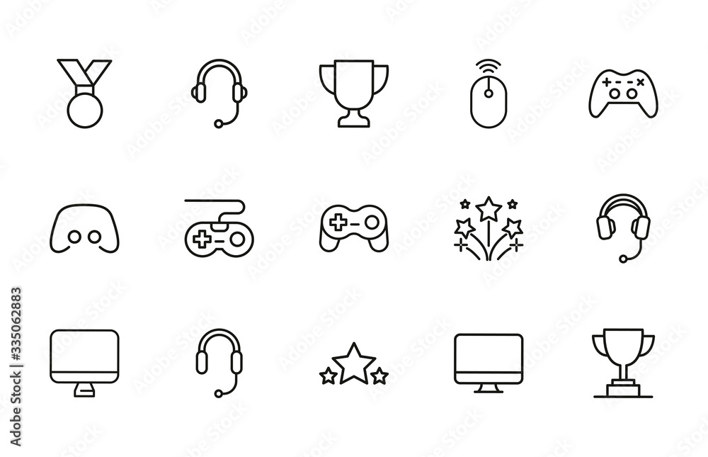Fototapeta Simple set of gaming icons in trendy line style.