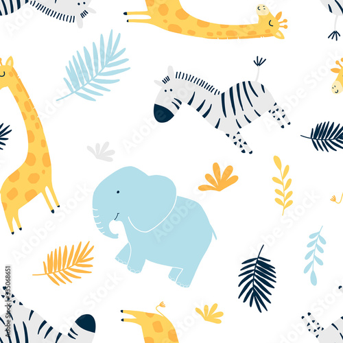 Hand drawing family animals pattern  vector illustration. Canvas Print