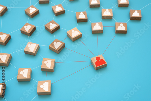 Fototapety, obrazy: White and red people cubes practice social distancing to protect. People relations. Social distance preventing infection or COVID-19 protection concept. Top view