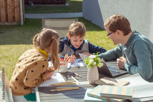 Vászonkép Homeoffice for the work at home and homeschooling due to coronavirus quarantine