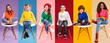Leinwandbild Motiv Cheerful kids in stylish clothes sitting on chairs