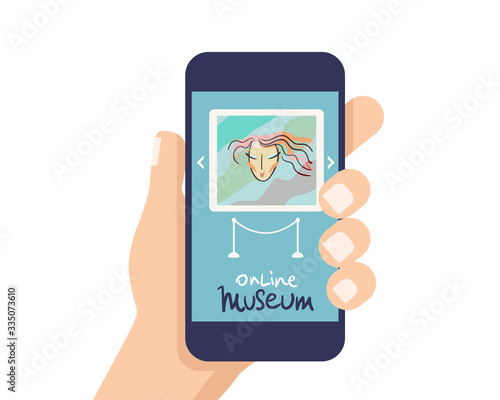 Interactive museum exhibition. smatphone. Virtual Museum and Art GalleryTours in Smartphone. Online Tours. Vector flat concept. Wall mural
