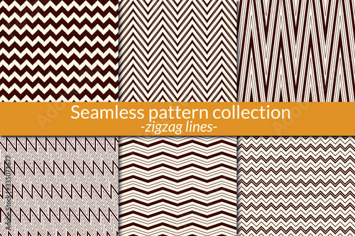 Photo Zigzag line seamless pattern collection