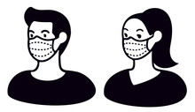 Man And Woman Wearing Medical Face Mask To Protect Themselves From Catching A Virus, Black And White Vector Illustration.