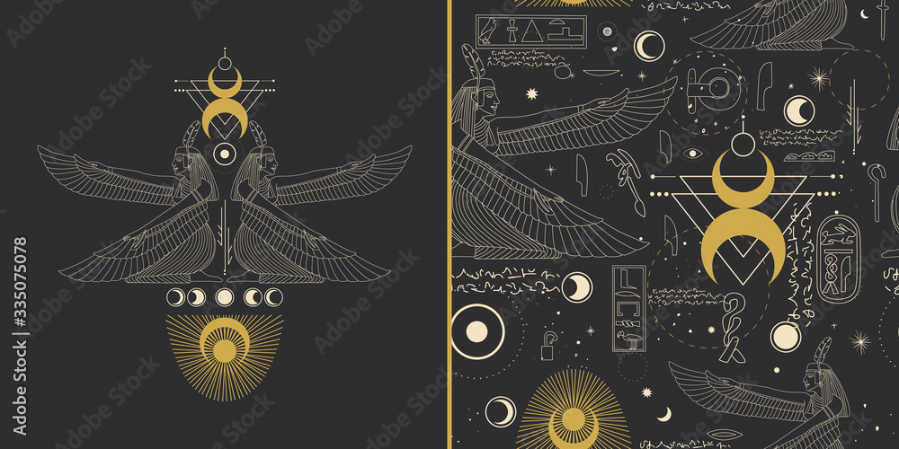 Fototapeta image of egyptian god in retro engraving style. tattoo sketch, print on a leaflet, design creation. cosmic elements of the sun and moon. Vector graphics
