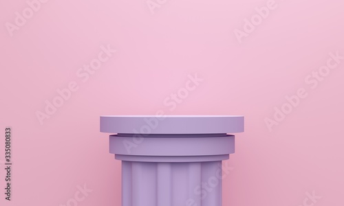 Antique lilac column on a pink background. 3d rendering