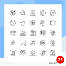 Set Of 25 Vector Lines On Grid...