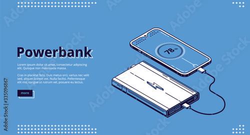 Obraz na płótnie Powerbank isometric landing page