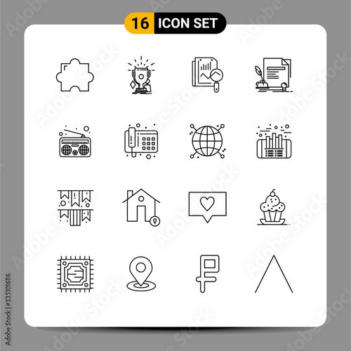 Modern Set of 16 Outlines and symbols such as communication, agreement, file, do Canvas Print