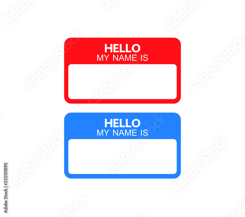 Hello my name is label sticker vector Wallpaper Mural