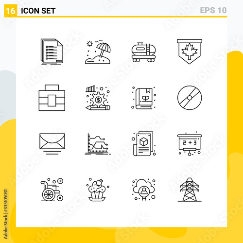 фотография 16 Universal Outlines Set for Web and Mobile Applications tools, briefcase, oil,