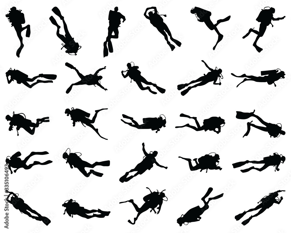 Fototapeta Black  silhouette of scuba diving and free divers on a white background