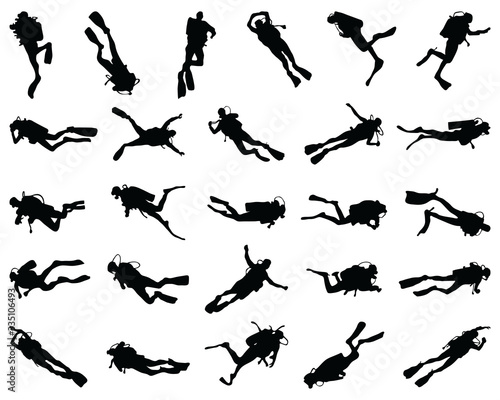 Fototapeta Black  silhouette of scuba diving and free divers on a white background obraz