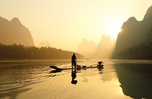 Silhouette Of Fishing Men And ...