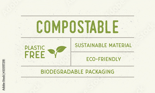 Compostable packaging vintage label Fototapeta