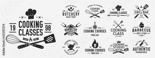 Leinwand Poster Set of Cooking Class logo and poster templates
