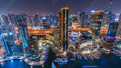 Fotografering The beauty of skyline at night in Dubai Marina just from the top