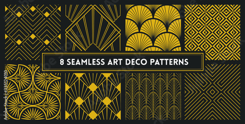 elegant art deco seamless design pattern set