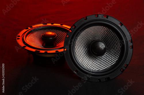 Fotografía Car audio system on a black background.Subwoofer.