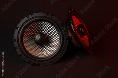 Cuadros en Lienzo Car audio system on a black background.Subwoofer.