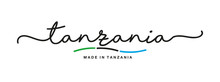 Made In Tanzania Handwritten Calligraphic Lettering Logo Sticker Flag Ribbon Banner