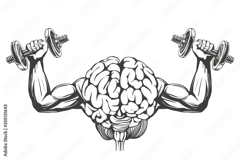 Fototapeta brain with strong hands, brain training, icon cartoon hand drawn vector illustration sketch