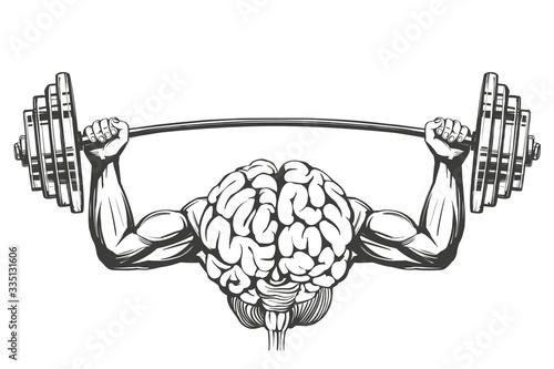 Cuadros en Lienzo brain with strong hands, brain training, icon cartoon hand drawn vector illustra