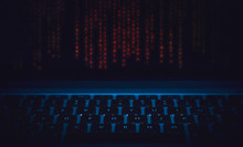 Code And Keyboard  Blue Background Ethical Hacking Concept