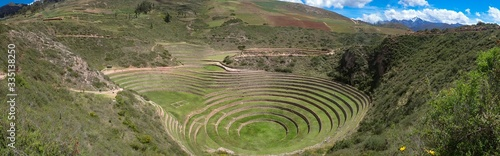 Panoramic shot of a green circular and archaic cultivation terrace Wallpaper Mural