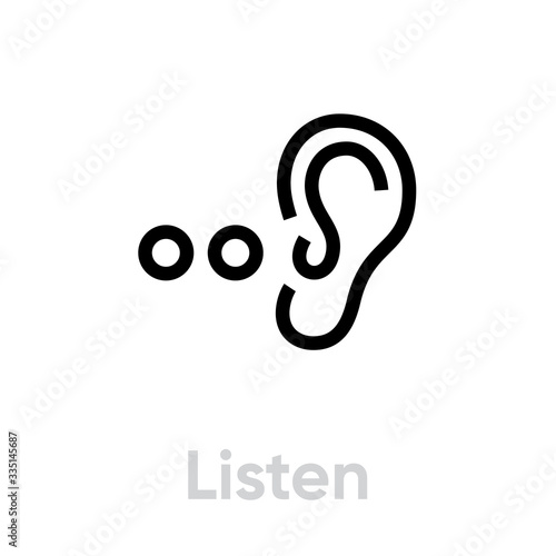 Photo Listen icon. Editable Vector Outline.