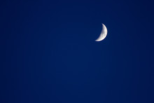 Crescent Moon In The Blue Sky Satellite Crater Copyspace