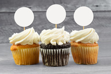 Cupcake Topper Mockup With Three Cupcakes