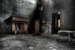 Leinwandbild Motiv Old fireplace in an abandoned room of an old house