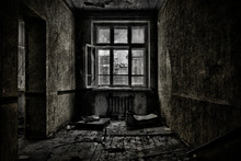 Old Abandoned Room With A Wood...
